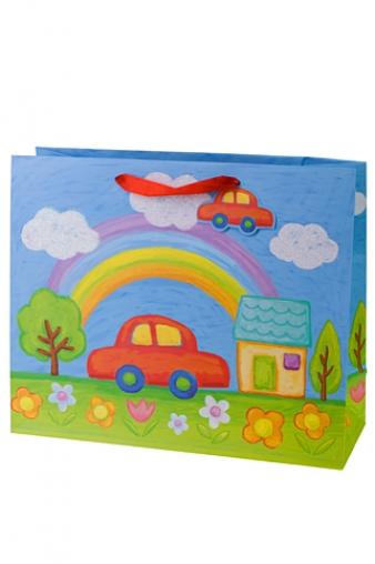 """Пакеты на любой повод Красный куб Пакет подарочный """"Машинка"""""""