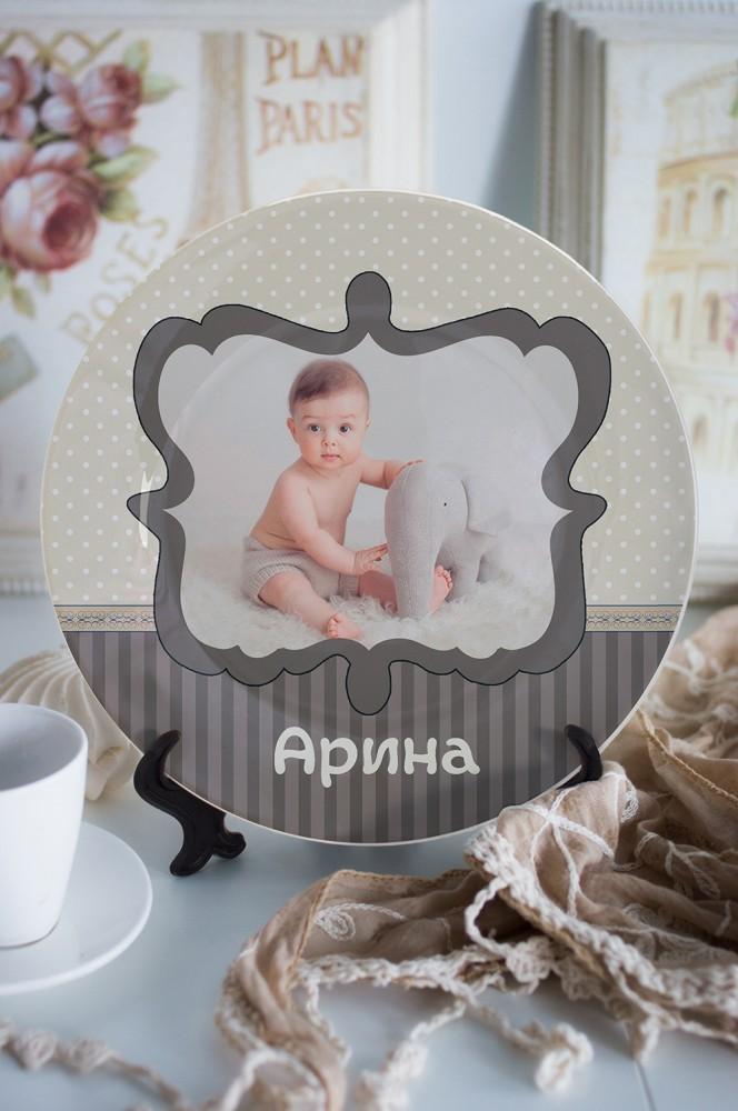 """Подарки для малышей и новорожденных Красный куб Тарелка декоративная с вашим текстом """"Моменты нежнос"""