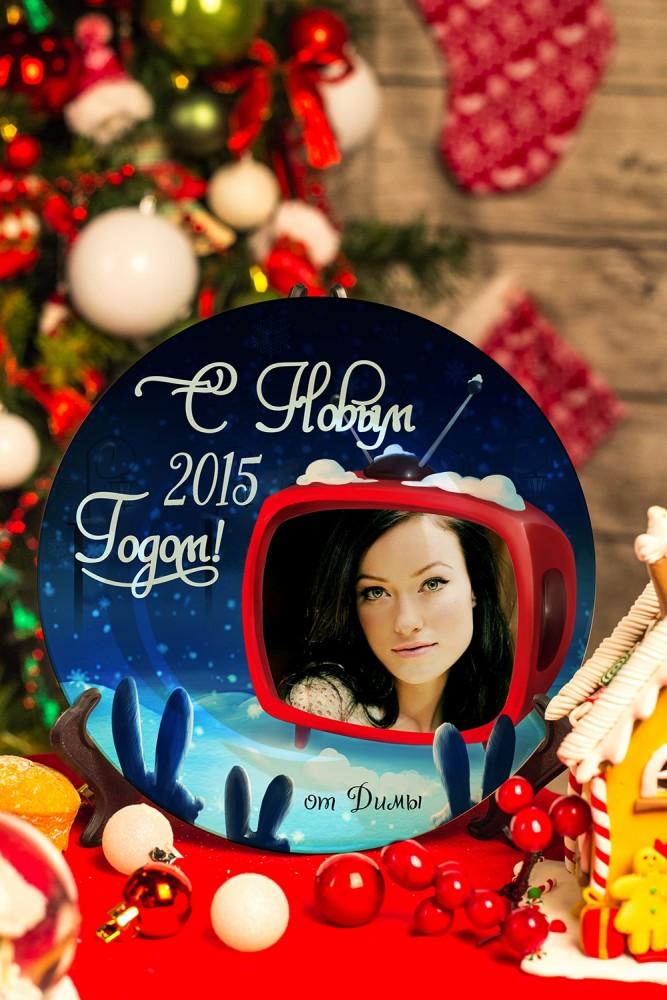 """Подарки для малышей и новорожденных Красный куб Тарелка декоративная с вашим текстом """"Новогоднее кин"""