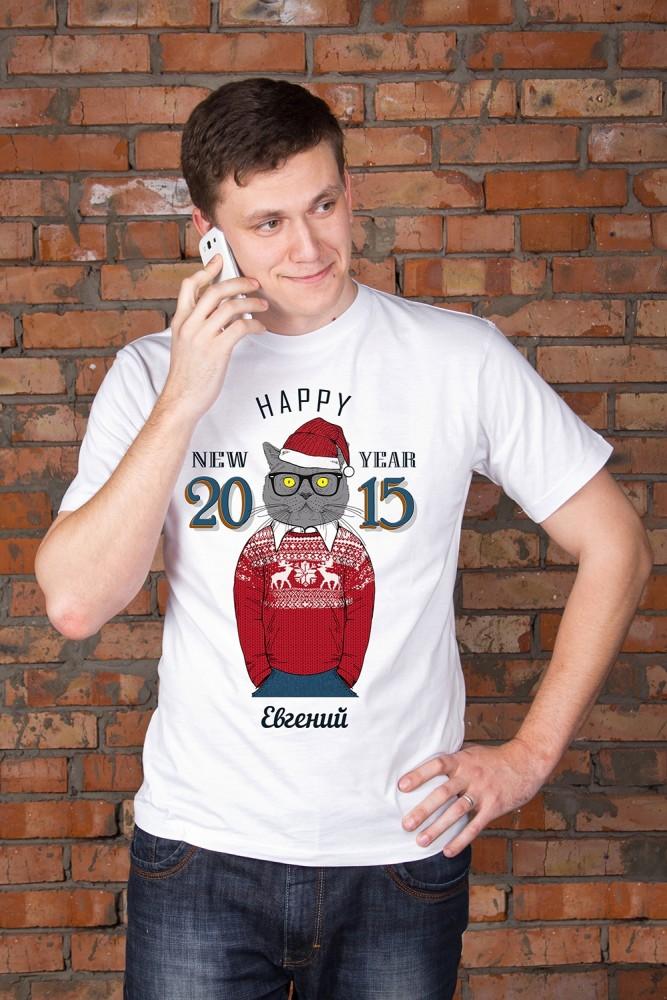 """Футболки мужские с рисунком Красный куб Футболка мужская с вашим текстом """"Новогодние хипстеры"""""""