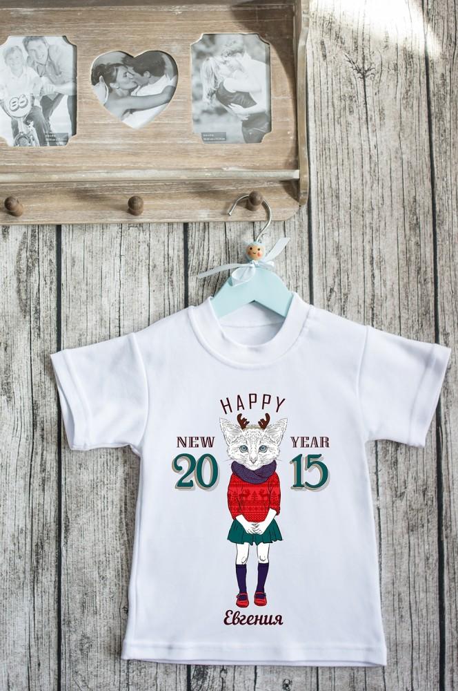"""Детские футболки с надписями Красный куб Футболка детская с вашим текстом """"Новогодние хипстеры"""""""