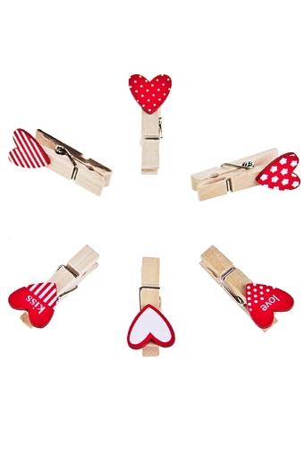 """Декоративные прищепки Красный куб Набор сувениров """"Красные сердечки - 1"""""""