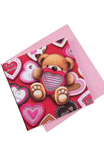 """Открытки про Любовь Красный куб Открытка подарочная """"Медвежонок с сердцем"""""""