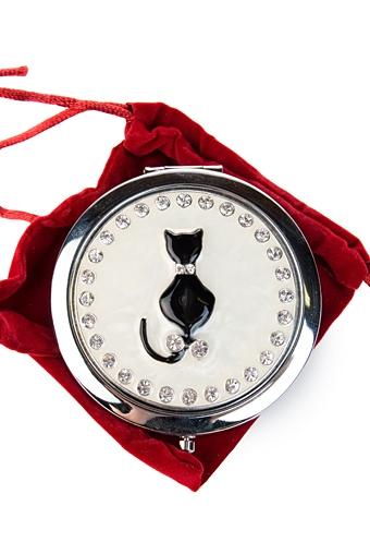 """Зеркальца и таблетницы Красный куб Зеркало двойное """"Кошка"""""""