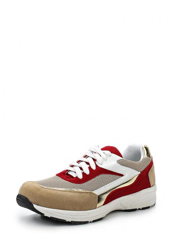 Кроссовки Sergio Todzi BS077 бежевые, золотистые, красный