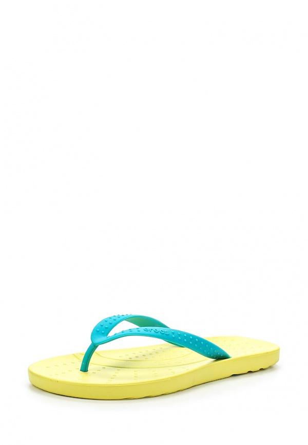 Сланцы Crocs 15963-4FB жёлтые, зеленые
