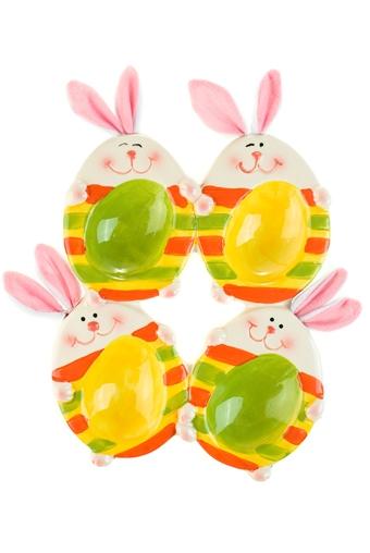 """Подставки для яиц Красный куб Блюдо для яиц """"Полосатые зайки"""""""