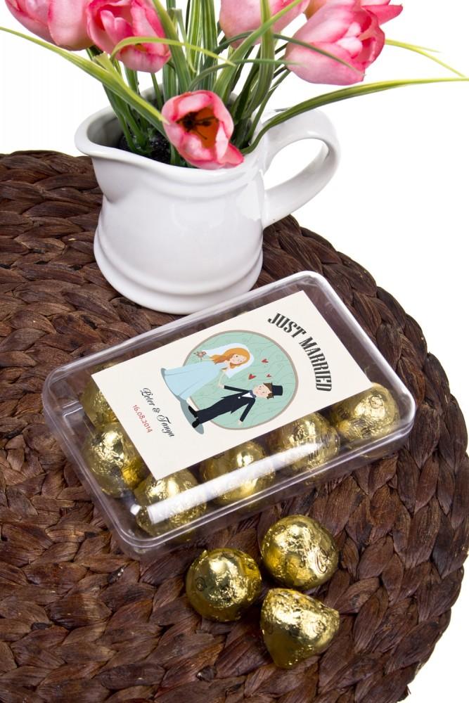 """Оригинальные и Необычные подарки Красный куб Коробка шоколадных конфет """"Just Married"""""""
