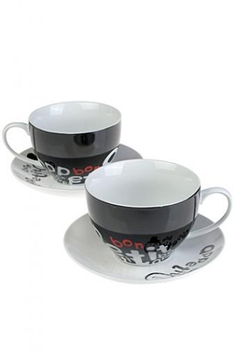 """Чайные пары Красный куб Набор чайных пар """"Приятного аппетита"""""""