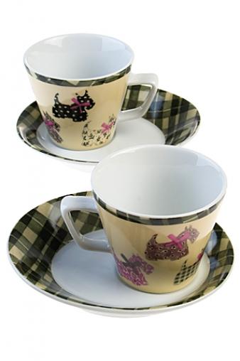 """Чайные пары Красный куб Набор чайных пар """"Терьер"""""""