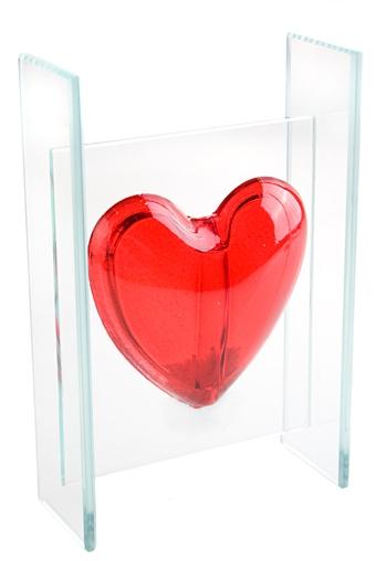 """Стеклянные вазы и кашпо Красный куб Ваза декор. """"Жгучее сердце"""""""