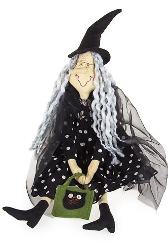 """Куклы ведьмы Красный куб Кукла декоративная """"Ведьмочка с сумкой"""""""