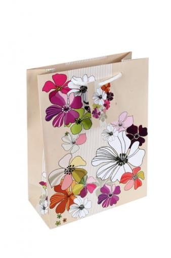 """Пакеты на любой повод Красный куб Пакет подарочный """"Пестрые цветы"""""""
