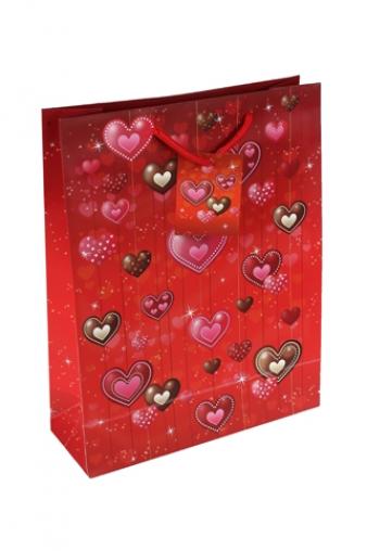 """Пакеты про Любовь Красный куб Пакет подарочный """"Разнообразие сердец"""""""