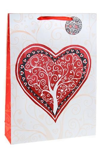 """Пакеты про Любовь Красный куб Пакет подарочный """"Сердце и дерево"""""""