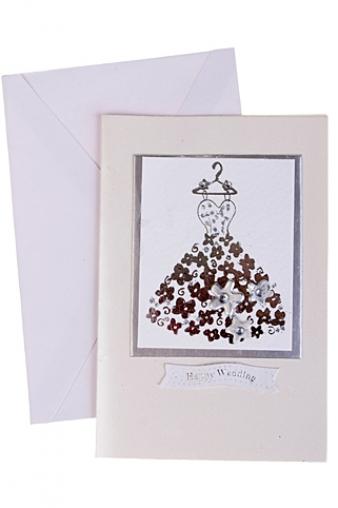 """Открытки ручной работы Красный куб Открытка подарочная """"Свадебное платье из цветов"""""""