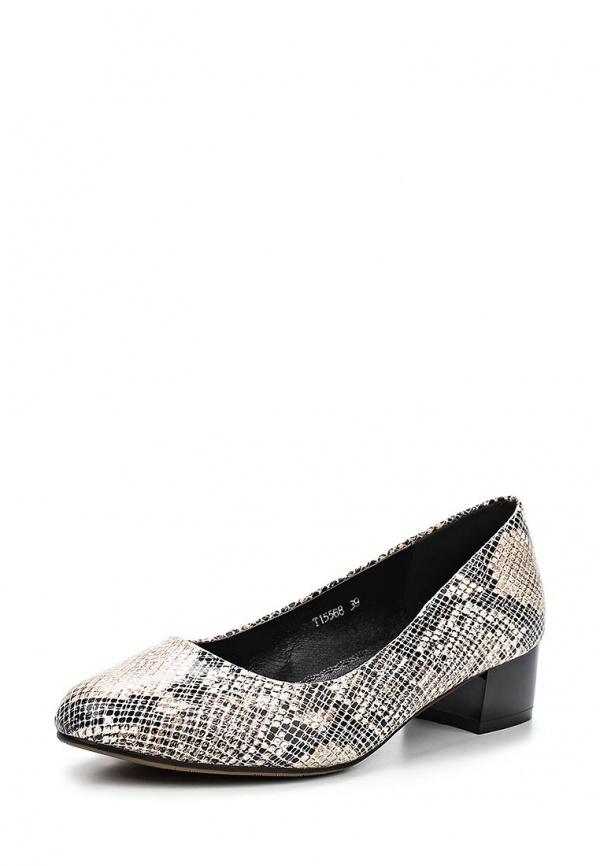 Туфли Ascalini T15568 бежевые, чёрные