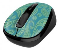 Microsoft Wireless Mobile Mouse 3500 Limited Edition Aqua Paisley Black USB