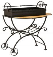 Doorz Мангал садовый с дровницей на колесах МСДК сталь 2 мм