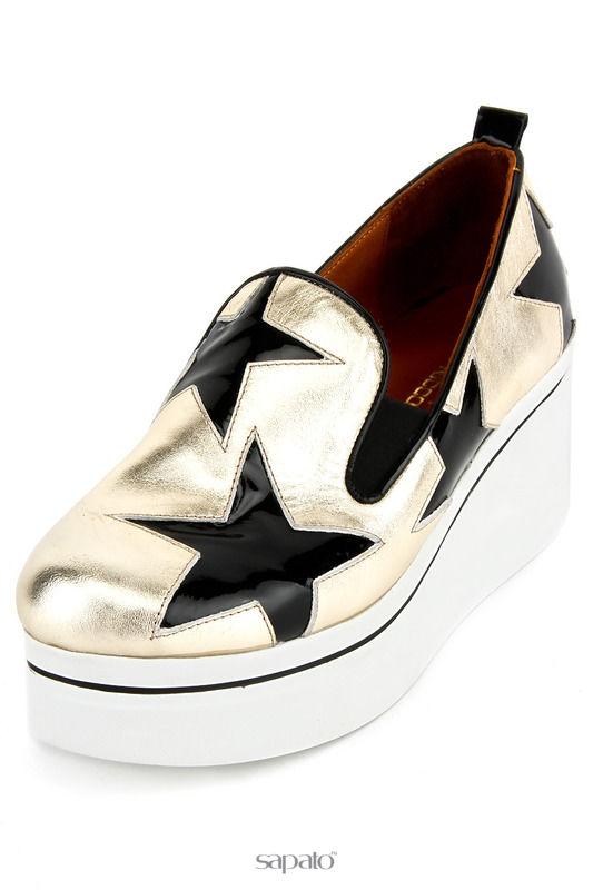 Туфли Donna Ricco Лоферы на платформе золотистые