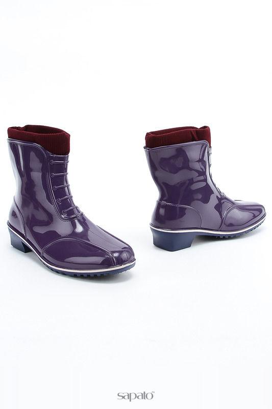Резиновые сапоги ДЮНА Ботильоны фиолетовые