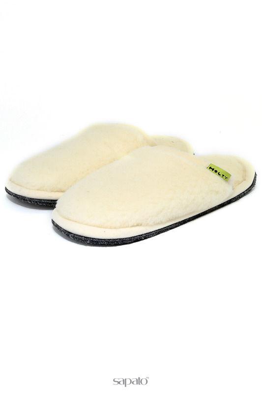 Домашняя обувь HOLTY Шлепанцы меховые на ЭВА-поре белые